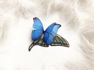 Bright Brooch with 3D Morpo Butterfly and Luna Moth Wing, Boho Chic Butterfly Brooch for everyone who loves Butterflies, Mega Size Brooch
