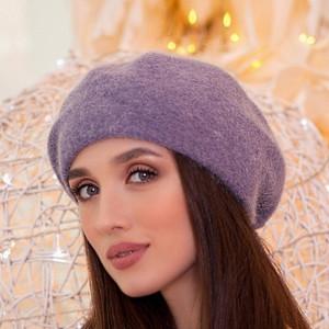 Alpaca beret classic French women hat Knitted winter angora beret