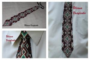 Ukrainian mens tie Ukrainian ornament Ukrainian EmbroideryTie Men Gift Men Accessories Gift Ukrainian style Ukrainian jewelry Seed beads tie