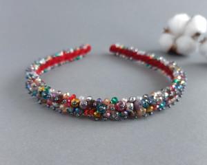 Rainbow beaded womens headband Bridal hair piece Crystal wedding emboidery headpiece for bride Bridal crystal tiara Bridal shower crown