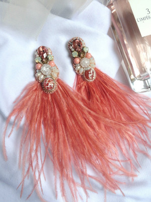 Embroidered Designer Handmade stud earrings clips with natural beads and ostrich feather
