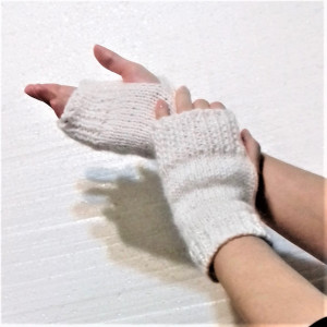 women's Knitted white mittens, boho mittens for flower girls, Wool  mohair fingerless gloves white with lurex, warm Knitted mittens for lady