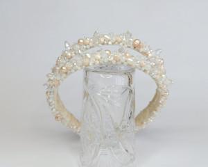 Pearl wedding headpiece for bride Crystal bridal double headband Beige pearl hair piece