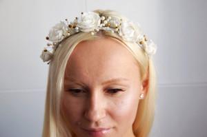 White flowers wedding crown