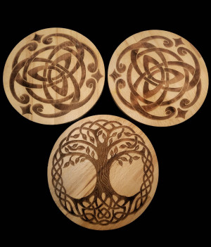 Set of altars. Altar with Celtic pattern and Tree of Life. Decorative altar tabel. Wooden altar. Handmade, handcrafted