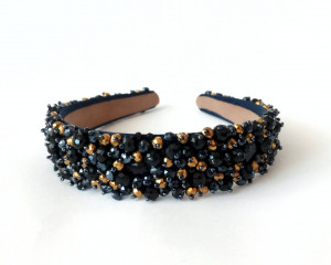 Black crystal jeweled headband Wide womens headband Crystal crown Wedding hair piece Bridal black crystal tiara