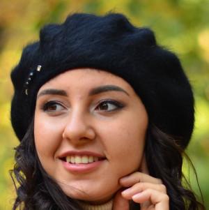 Classic french angora beret fluffy Winter wool beret tam