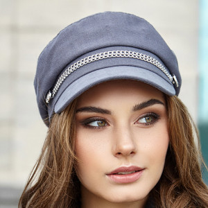 Newsboy cap women Vegan hat Gray organic cotton baker boy hat