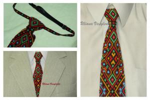 Beads mens tie Ukrainian ornament Ukrainian EmbroideryTie Men Gift Men Accessories Gift Ukrainian style Ukrainian jewelry Seed beads tie
