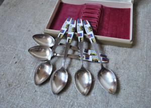 Set of 6 Melchior & Enamel Teaspoons  Leningrad Design spoons Teaspoons German Steel spoons Melchior flatware Soviet cutlery USSR classic