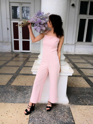 Pink women's jumpsuit with pants/ Long summer jumpsuits/ summer pink sleeveless jumpsuit/ Jumpsuit with bare shoulders/ Women's culottes
