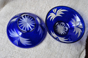 Vintage cobalt glass Bowl, two salad dishes,  vase for candy or sweets