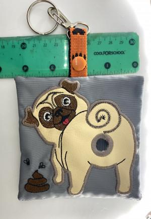 Poop bag holder, poop bag dispenser with fawn pug appliqué and machine embroidery, with snap hook and key ring