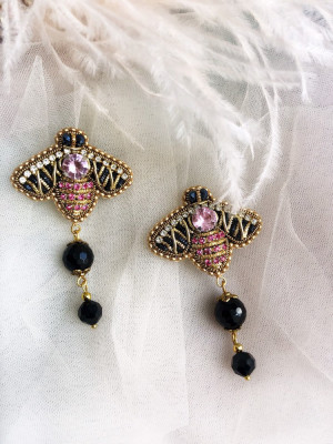 Funny Bee Bead Earrings, Pendant Earrings, Mother's Day Gift