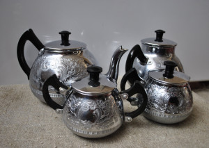 Continental silver metal 4 piece tea set (teapot, 2 creamer and sugar bowl), ca 1970's Made in the USSR Metalware Ukraine