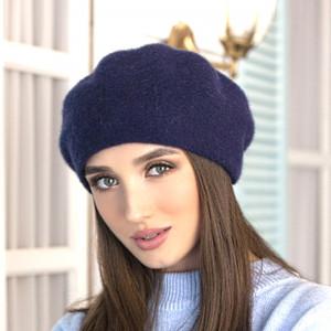 Alpaca navy beret classic French women hat Knitted winter angora beret