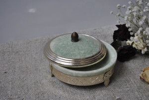 Antique Soviet powder box, Collectible compact small boxof metal and plastic from the USSR of the 1960s