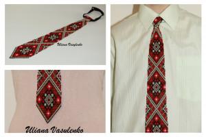 Brown mens tie Ukrainian ornament Ukrainian Embroidery Tie Men Gift Men Accessories Gift Ukrainian style Ukrainian jewelry Seed beads tie