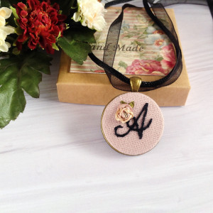 Initial embroidered necklace, personalized gift, custom letter jewelry