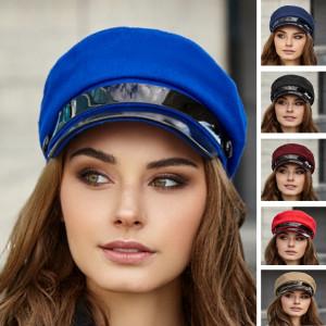 Elegant greek fisherman cap blue Baker boy hat Vegan newsboy cap Military visor hat