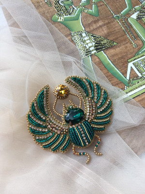 Custom egyptian beetle scarab brooch,  gift for her, mother's day gift