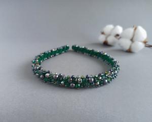 Emerald beaded bridal headband Bridal hair piece Crystal crown Pearl womens headband Bridal crystal tiara Wedding headpiece