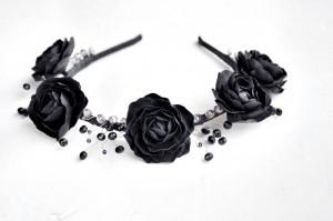 Anita black flower crown