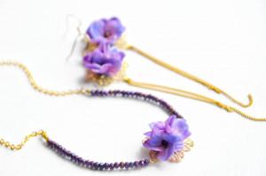 Purple wedding flowers jewelry