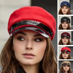 Elegant greek fisherman cap red Baker boy hat Vegan newsboy cap Military visor hat