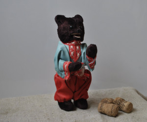 Vintage Rare collectible Russian Soviet toy - a Wind Up mechanical dancing plush bear with a key made in the USSR of the 1950s