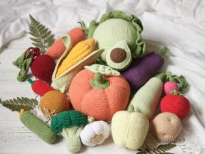 Crochet play food set 18 pcs. Educational toys for kids. Pretend play food