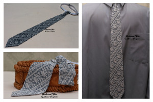 White grey silver tie mens tie  ornament wave  Ukrainian mens tie ornament Tie Men Gift  Accessories Ukrainian style Ukrainian jewelry
