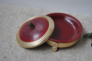 Antique Soviet powder box, Collectible compact small boxof metal and plastic from the USSR of the 1950s
