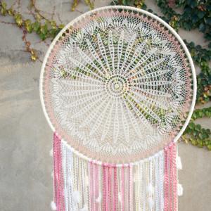 Blush pink dream catcher rustic home décor Large crochet dreamcatcher boho birthday invite