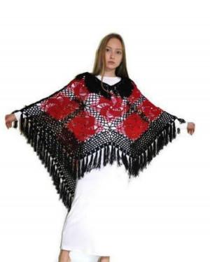 Boho Poncho Crochet Wrap Mexican Bohemian Gift For Mom
