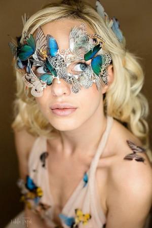 "Stunning  unique Mask ""Butterflies Queen"", Boho Chic Venice Mask Festival Mask with Silk Butterflies wings, Women Masquerade Mask, Silk Mask"
