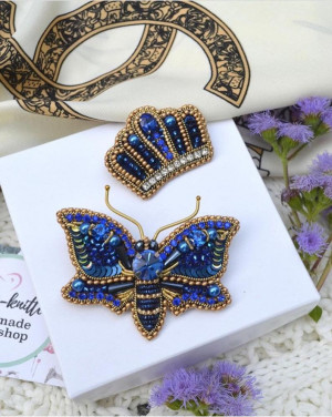 Embroidered Butterfly blue brooch crown,mothers day presents