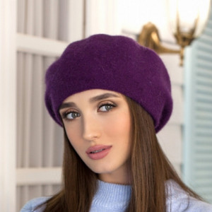 Indigo alpaca beret classic French women hat Knit angora beret