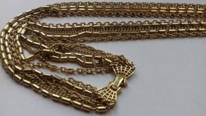 Vtg. Crown Trifari  Gold Metal  Necklace, Crown Trifari Long Сhain