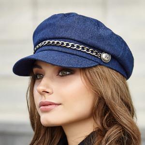Newsboy cap women Vegan hat Organic cotton baker boy hat Blue denim
