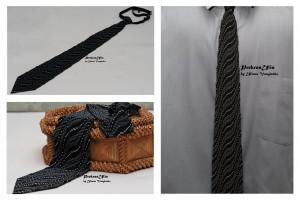 Black grey silver tie mens tie 3d ornament wave  Ukrainian mens tie ornament Tie Men Gift  Accessories Ukrainian style Ukrainian jewelry