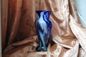 Blue glass vase Vintage multi-colored glass vase  from the USSR