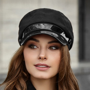 Black newsboy cap Greek fisherman cap Baker boy hat Vegan hat Cadet cap