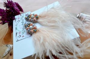 Beige earrings ostrich feather, bulk embroidery stud earrings