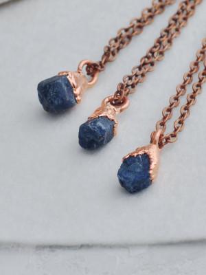 Electroformed raw sapphire necklace, raw stone pendant, rough gemstone necklace, electroform sapphire jewelry, September birthstone necklace