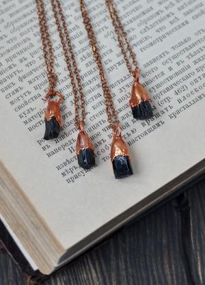 Electroformed raw black tourmaline necklace, raw stone pendant, rough gemstone necklace, electroform schorl jewelry, october birthstone