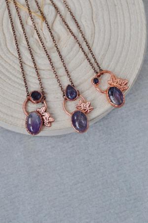 Electroformed amethyst necklace, satellite pendant, copper electroform, amethyst pendant, boho necklace, february birthstone, satellite