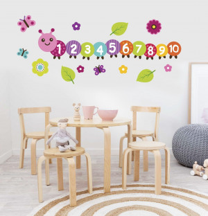 Counting caterpillar decal, Preschool classroom decor, learning numbers, kindergarten math decor, kindergarten wall decor, math wall decal