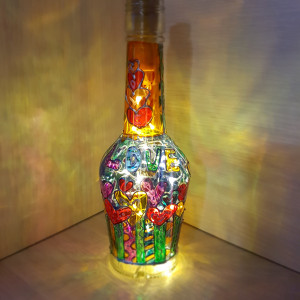Unique night light Mood lighting Fairy lights Bedside lamp Valentine's day gift Hand-painted Glass Art Wine lovers gifts Wine Wedding gift