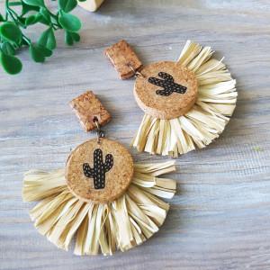 Raffia fringe earrings, Recycled Wine Cork Earrings, Cactus Tassel Earrings, Eco-friendly Earring, Gift for her, Recycled material Jewelry